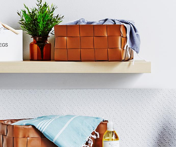 "Learn how to make your own woven leather storage baskets [here](http://www.homestolove.com.au/how-to-make-storage-baskets-3710|target=""_blank""). Photo: Andrew Finlayson / homes+"