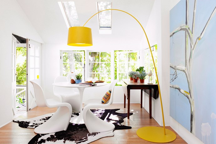 **Focus on the floor.** Floor lamps are an excellent multi-purpose buy. They bring more light to the room you're placing them in and also serve as a feature piece, adding an interesting style element to any room. Again, you can use them to add a pop of colour to an otherwise-muted palette or you can quickly and easily add a modern touch to a predominantly vintage room, or vice versa. The juxtaposed elements will give your room a relaxed feel. Photo: Lucas Allen / Bauersyndication