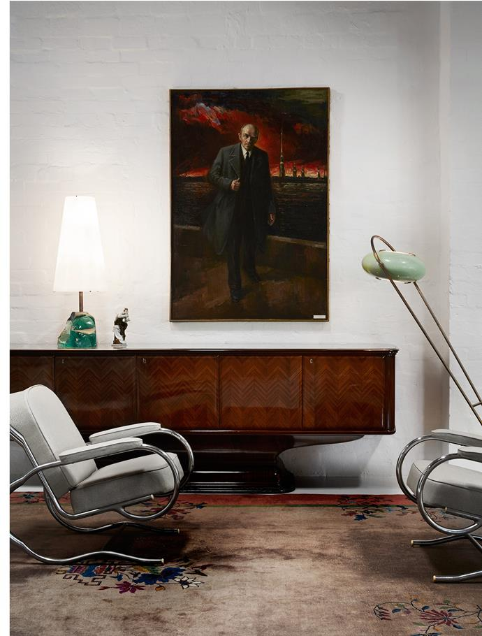 A pair of French 1930s armchairs by Baptistin Spade. A 1950s painting by Iosif Iosifovich Belanovich.