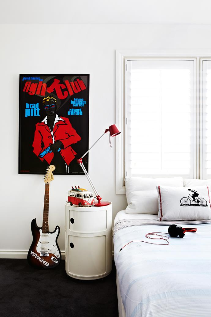 """In Charlie's room, a cushion made from a tea towel is a cost-effective way to add personality. Fight Club poster, [Polish Posters Shop](http://www.polishposter.com