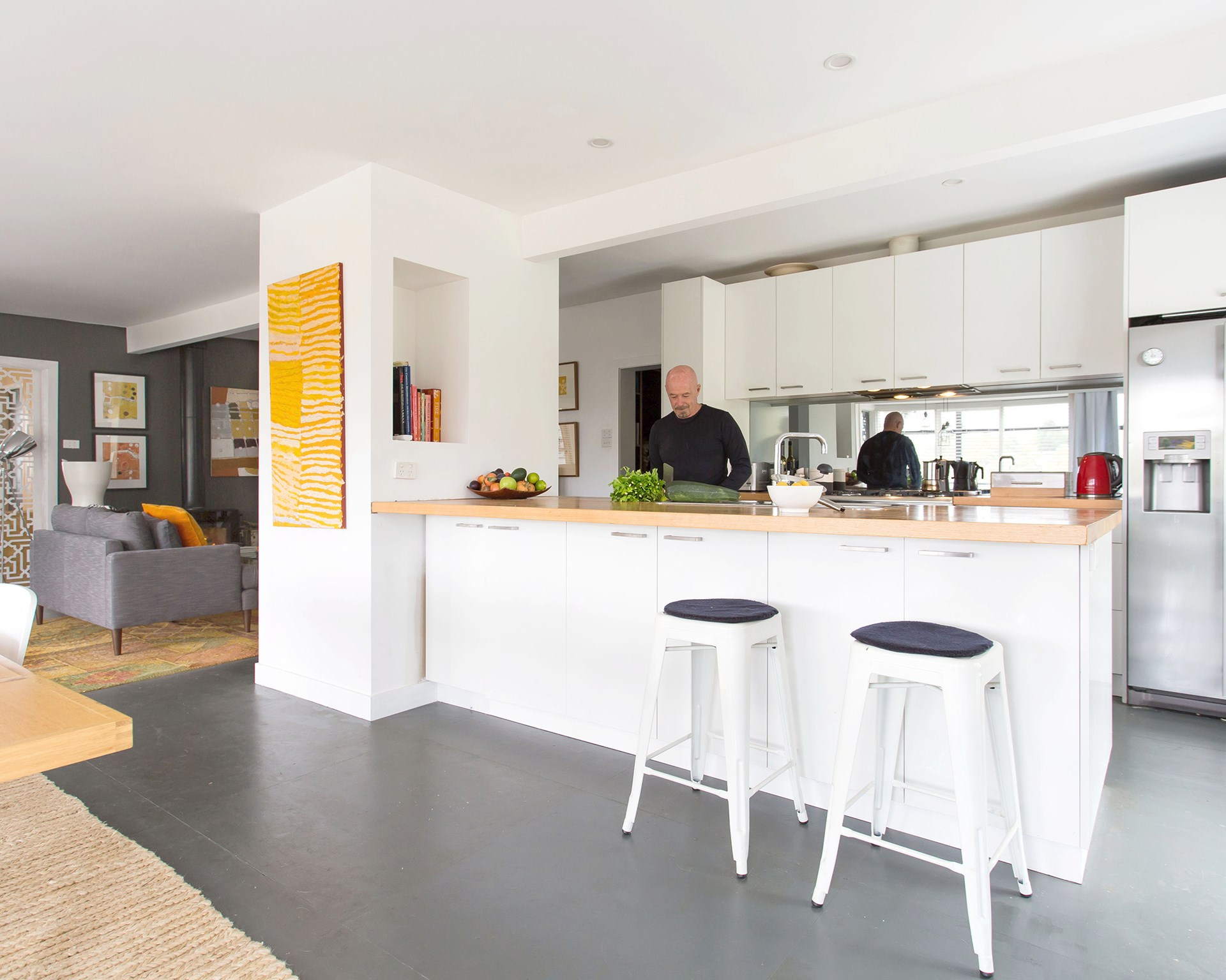 """**Greg Mallyon** Formerly known as the """"rat house"""" this old Victorian cottage has been transformed with mid-century-inspired style. [See the full home here](http://www.homestolove.com.au/old-victorian-home-gets-budget-renovation-3769) or [vote for this home](http://www.homestolove.com.au/homes-reader-home-of-the-year-4499)."""