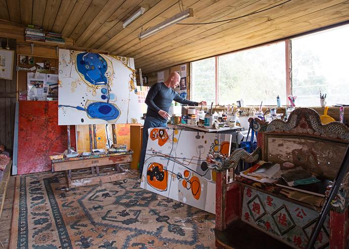 Greg's art studio overlooks a dam and gully and makes for a tranquil space for him to concentrate on his work.