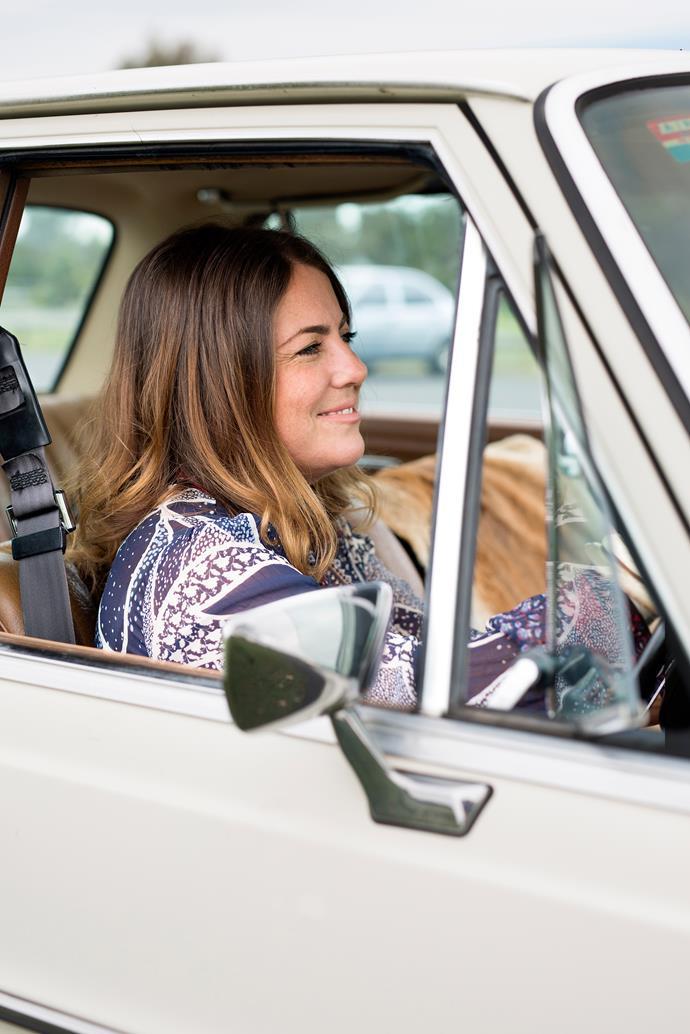 Kara's mode of transport is a 1968 Mercedes.