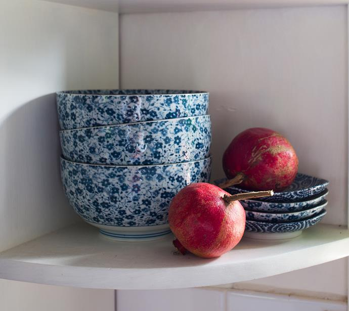 """To jazz up a room, Jacqi likes to use and display her favourite things, like these Blue Daisy brekky bowls from Made In Japan. """"They were only $7.50 each!"""""""