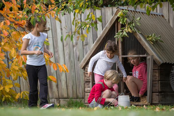The kids and friends love collecting fresh egg's from the family's two hens.