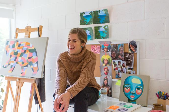 Jacqi's studio is on the ground floor, the abundance of light making it the perfect place to paint.