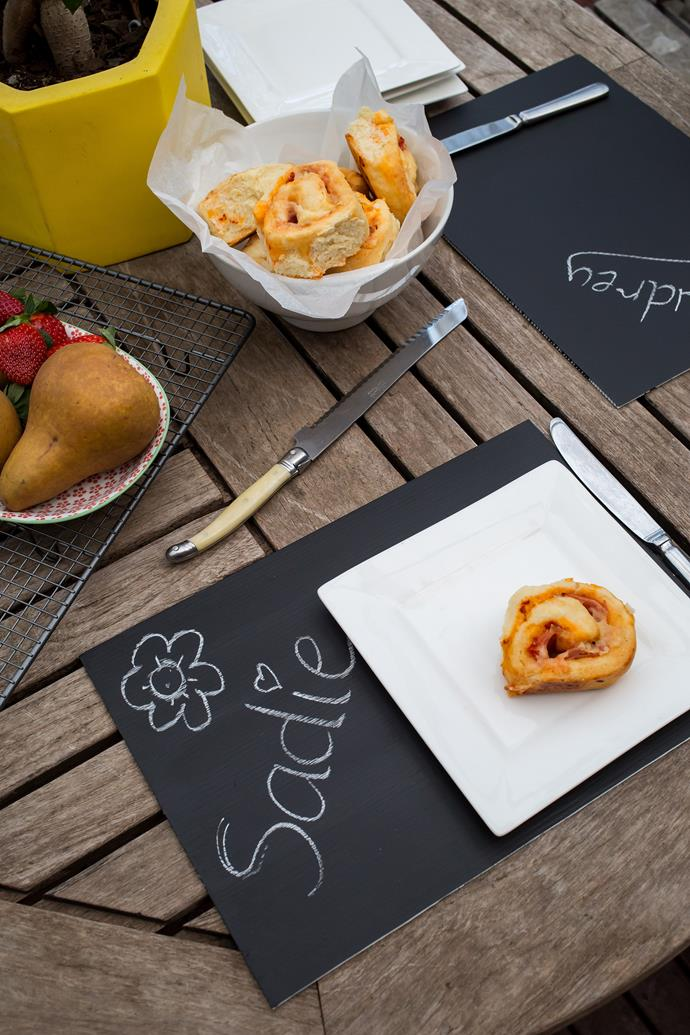 One way to make a home feel cosy and all family-fun is some DIY. These chalk placements are always a hit for Jacqi's family, and are too easy to make: just coat your boards with chalkboard paint and allow plenty of drying time before letting the kids get to them.