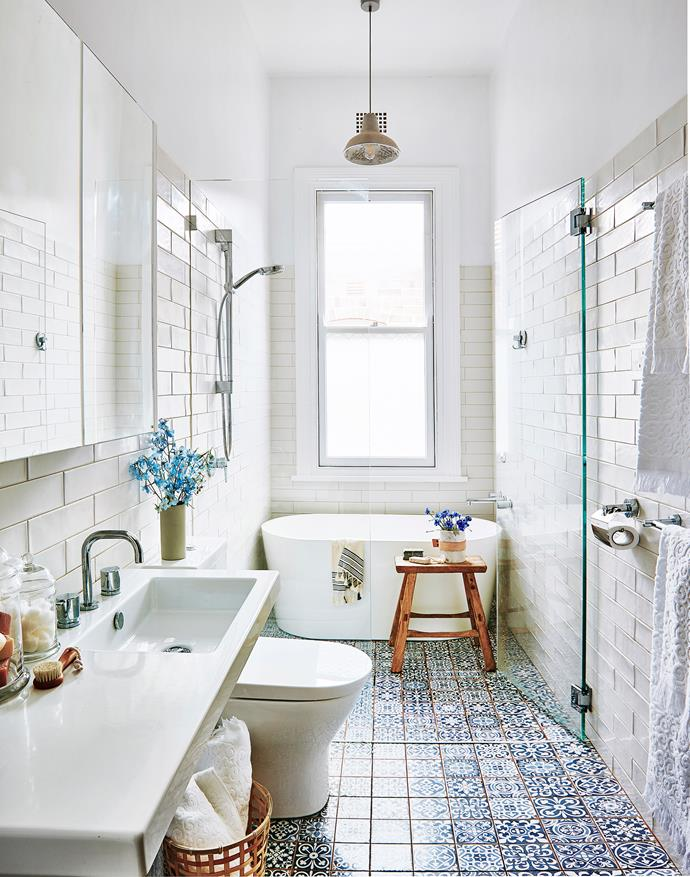 "**Out with plain grout:** The tilework is really what brings a bathroom to life. Switch things up by choosing a vibrant tile with matching [grout](http://www.homestolove.com.au/how-to-clean-tile-grout-3647/?utm_campaign=supplier/|target=""_blank"") instead of sticking to plain white. *Photography by Scott Hawkins. Styling by Kayla Gex*"