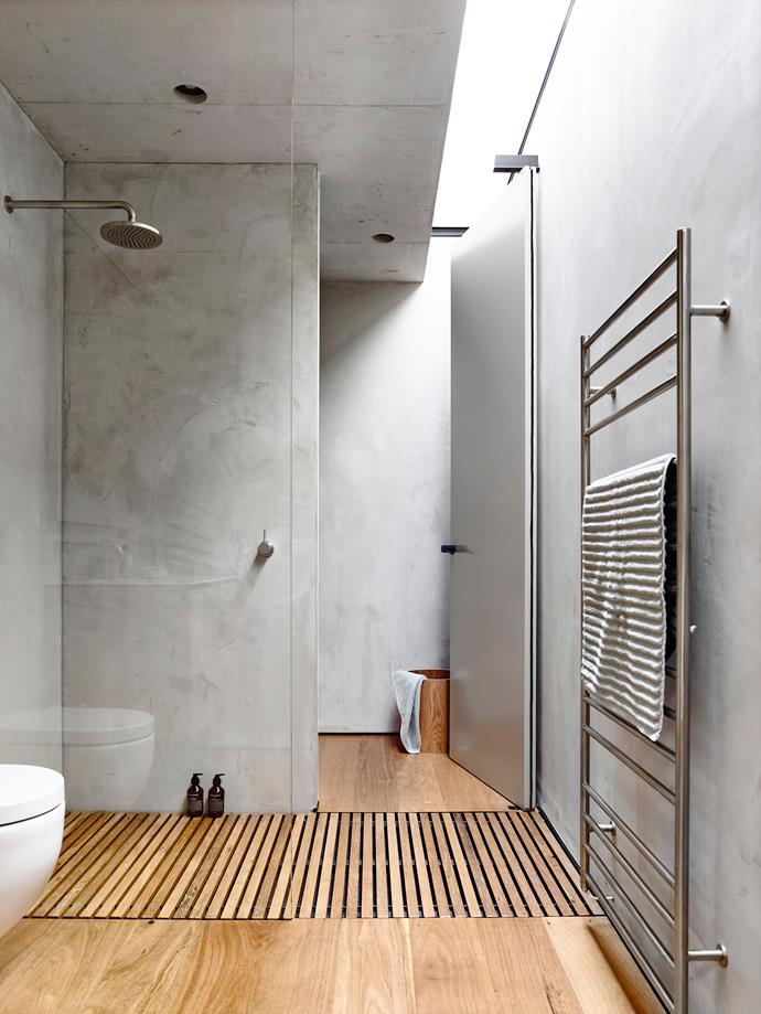 "**Sheet Spot:** For a textured, practical surface, consider cement sheeting as an alternative to tiles. This durable, low-maintenance finish is bang on trend in the **bathroom design** world right now! *Project by [Schulberg Demkiw Architects](http://schulbergdemkiw.com/|target=""_blank"").*"