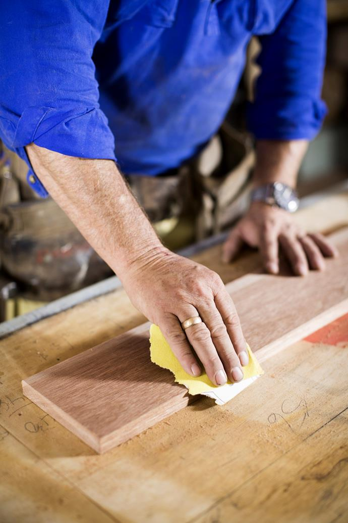 Use sandpaper to smooth all edges of timber.