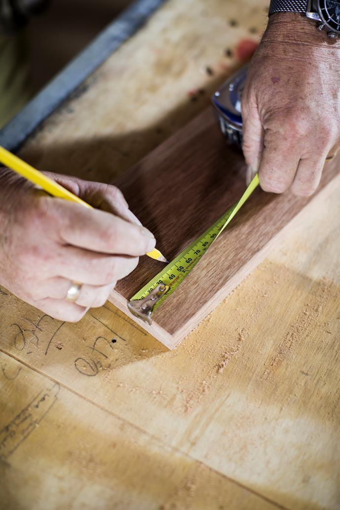 At each end of timber, measure and mark 50mm in from top and sides.