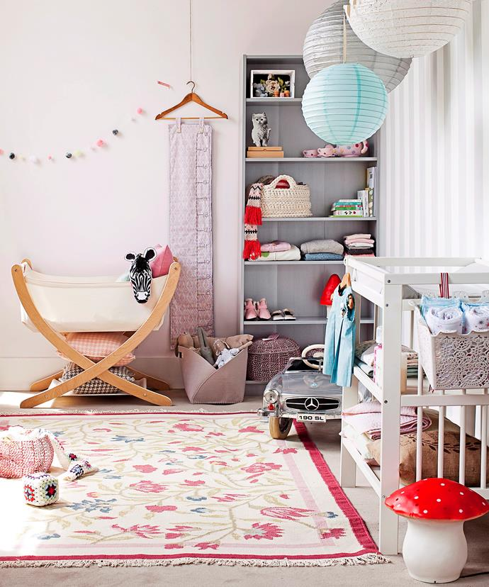 Use a bookshelf to house baskets, mini shoes and outfits. And, in nurseries, opt for a change table with storage.