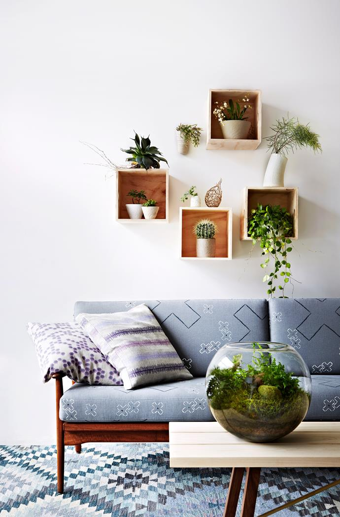 """""""Create artful displays of beautiful details, where artisan ceramics and plants come together for a visually layered effect,"""" says textile designer Michelle Koop."""