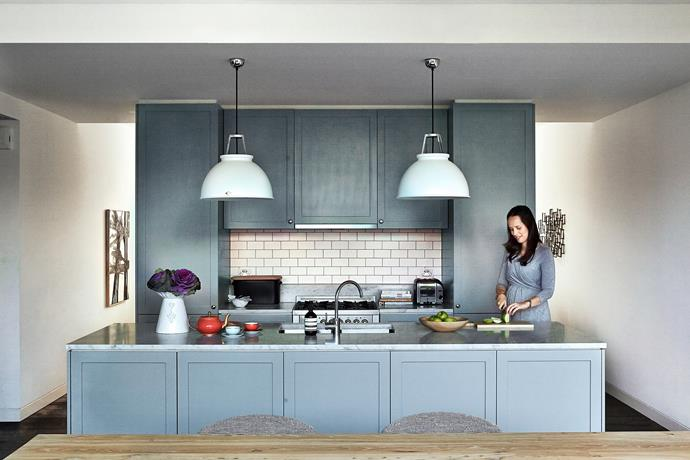 """""""Simplicity is the key, therefore the design is symmetrical and streamlined,"""" says Handelsmann of her open-plan kitchen."""