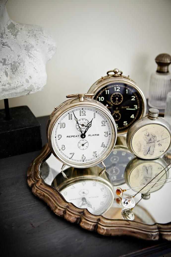 Elly loves collecting antiques, including these clocks, from local antique dealers.