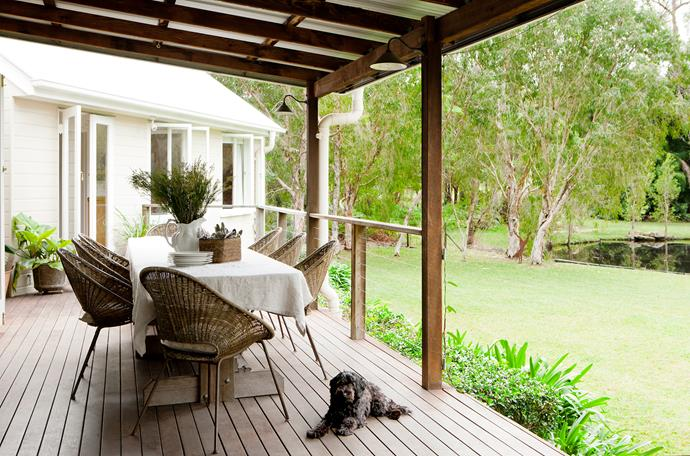 The spotted-gum verandah, which runs along the front of the house between the two wings, has bird's eye views of the dam and the garden.