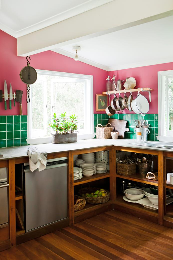 "Before their wedding, the couple painted the interior in shades mixed by Angela, who runs interior-design business [Ascot Living](http://ascotliving.com.au/|target=""_blank""). The kitchen became a bright spot, with pink walls and green splashbacks."