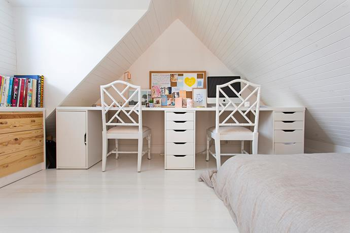 A long tabletop and combo of drawers and cabinet (from Ikea) creates enough space for two. Photo: bauersyndication.com.au