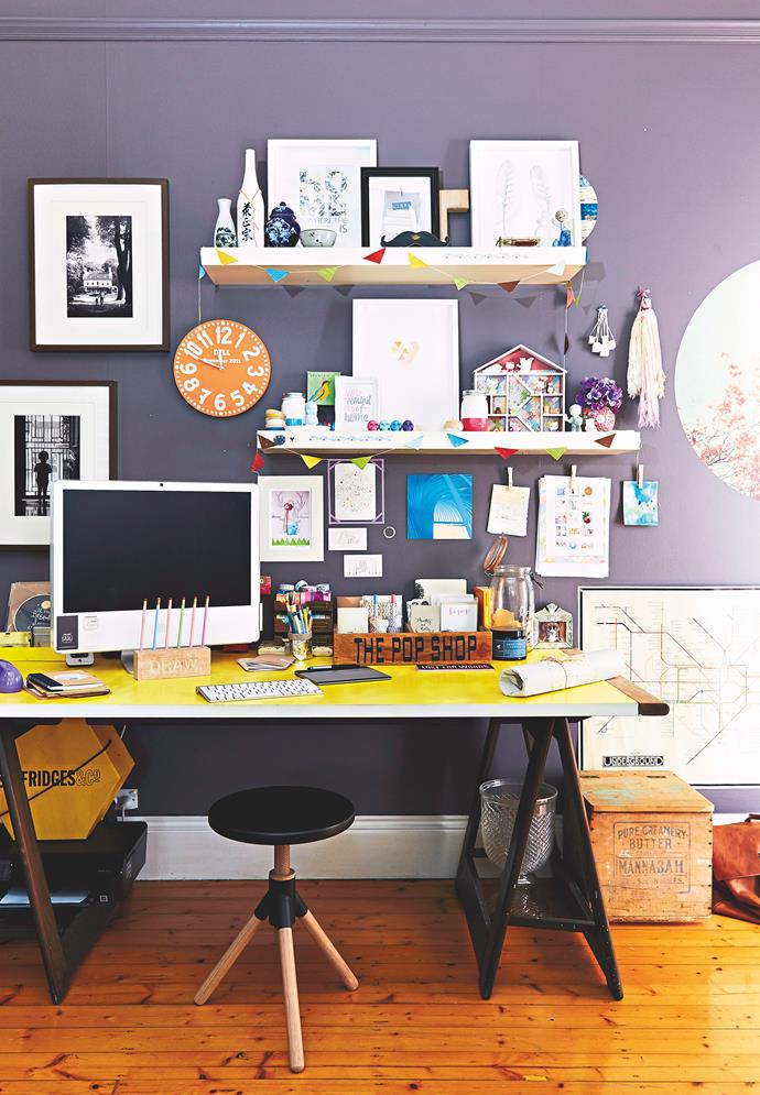 Avoid a cluttered desk and use wall shelves for display. Photo: bauersyndication.com.au