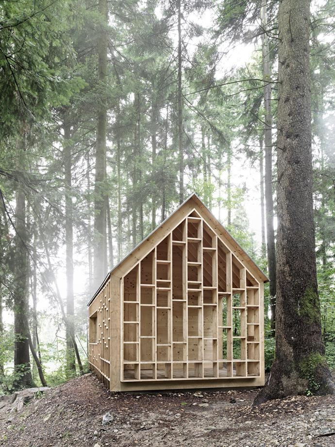 The wooden slat openings are designed for the children to show off treasures collected from the surrounding forest trails. *Photo: Adolf Bereuter*