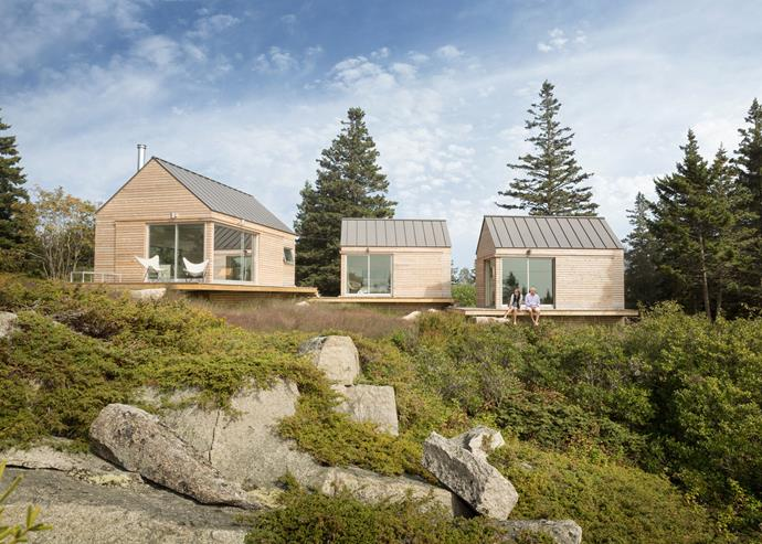 "These three linking cabins were designed and built by [Go Logic](http://www.gologic.us/|target=""_blank"") and are located on the coast of Maine in the United States. *Photo: Trent Bell*"
