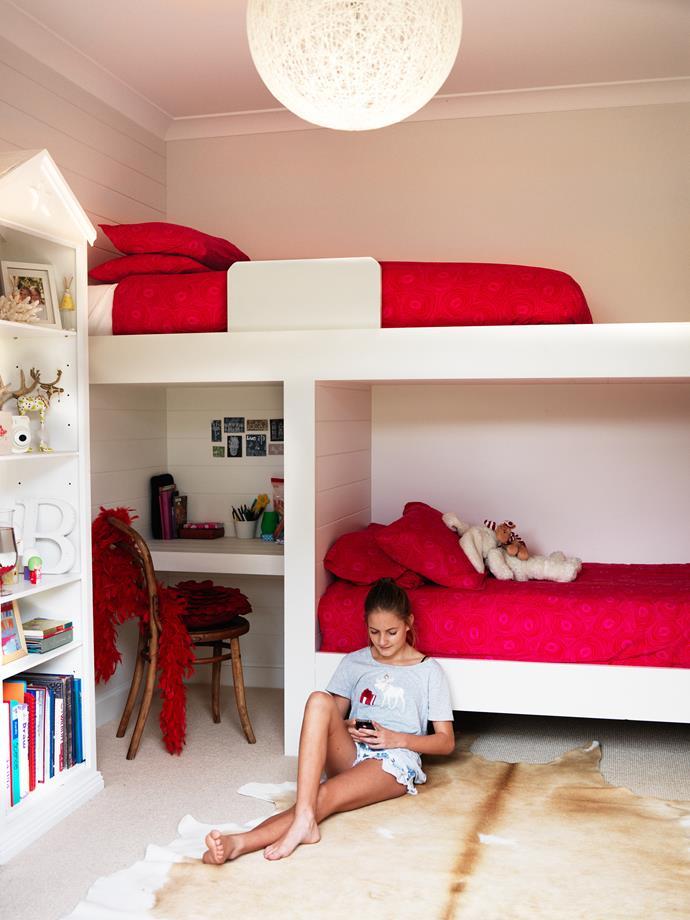 John built in bunks and a desk in Bella's room.