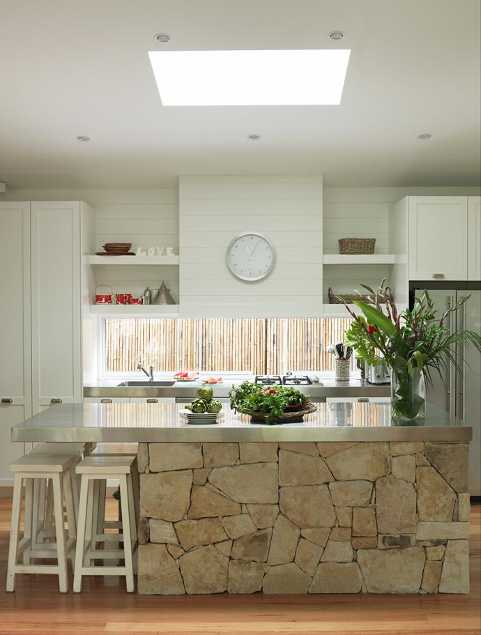 Existing sandstone flagging was recycled to great effect in the new living and kitchen areas.