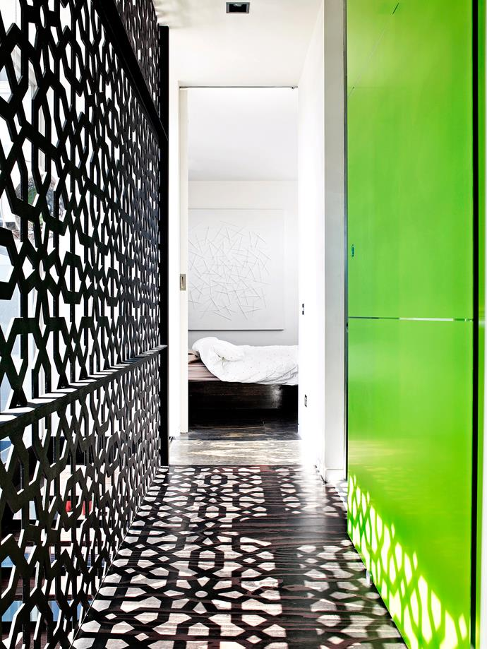 Screen panels in this hallway allow light to stream through, casting pretty shadows. Photo: bauersyndication.com.au
