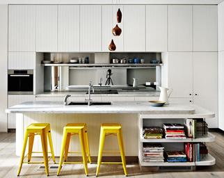 kitchen bench with yellow stools