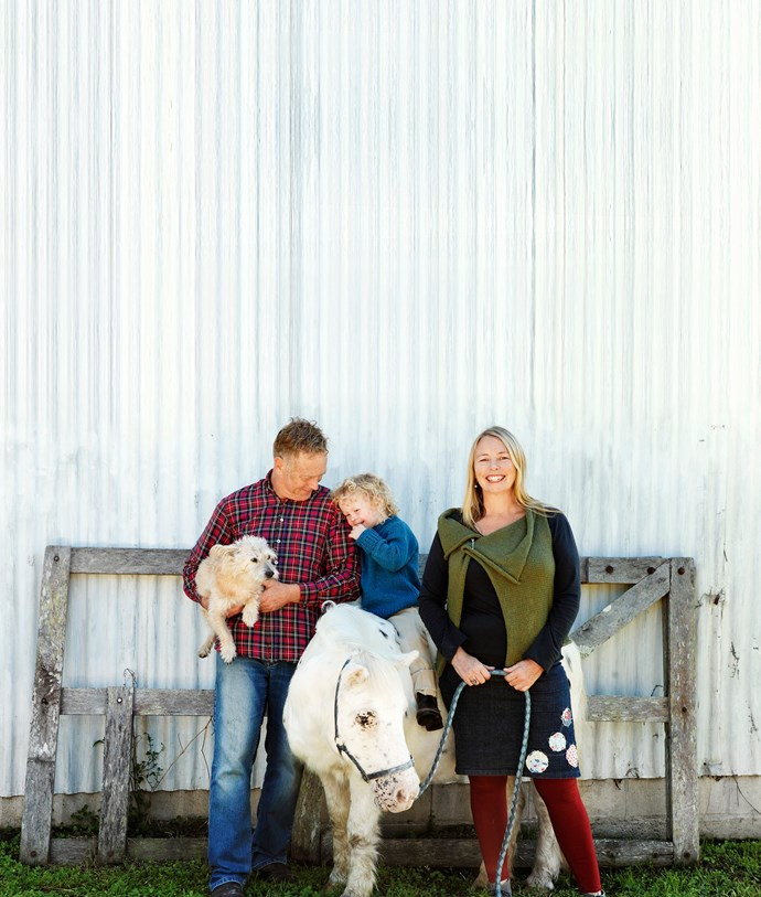 Andrew, Sarah and George with Wojtek, a Jack Russell/red cattledog cross, and their aptly named pony, Cheeky.