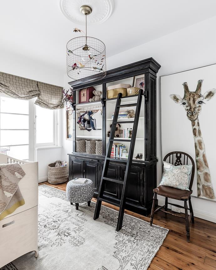A whimsical animal theme runs through Henry's room, previously a library.