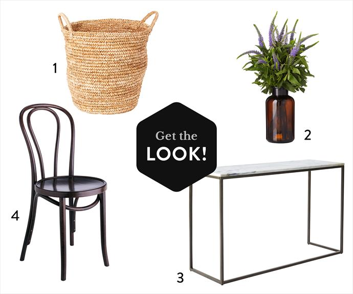 """**1.** Vivid woven basket, from $50, [Freedom](http://www.freedom.com.au/ target=""""_blank""""). **2.** Specimen glass bottle in Amber, $15, [Freedom](http://www.freedom.com.au/ target=""""_blank""""). **3.** Box Frame steel and marble console table, $799, [West Elm](http://www.westelm.com.au/ target=""""_blank""""). **4.** No. 18 European beech chair in Dark Oak stain, from $215, [Thonet](http://www.thonet.com.au/ target=""""_blank"""")."""