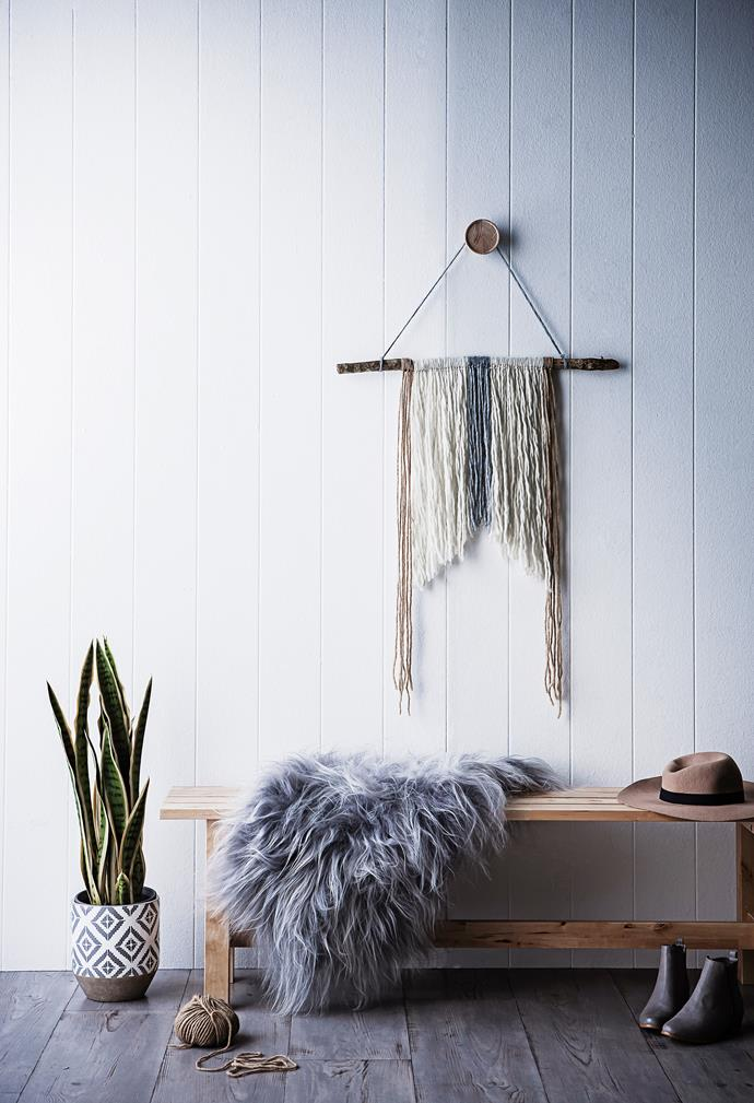 """Have some preexisting hooks but fresh out of artworks to hang? Try [DIY branch wall hanging](http://www.homestolove.com.au/diy-branch-wall-hanging-3253