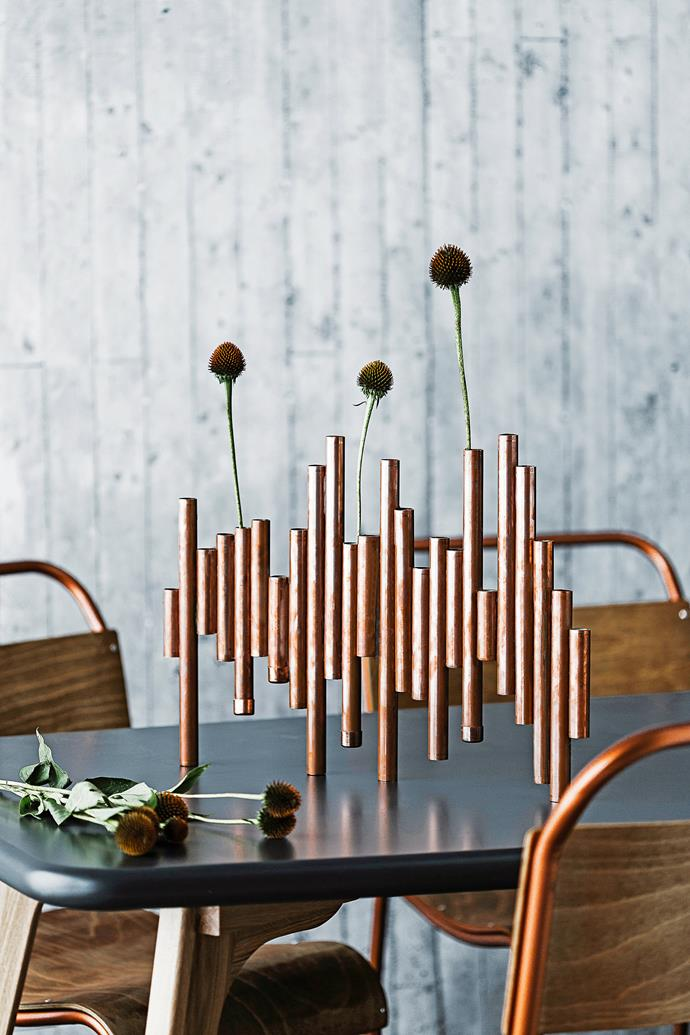 """Give your table a stylish touch with this [DIY copper vase centrepiece](http://www.homestolove.com.au/diy-copper-vase-centrepiece-3355