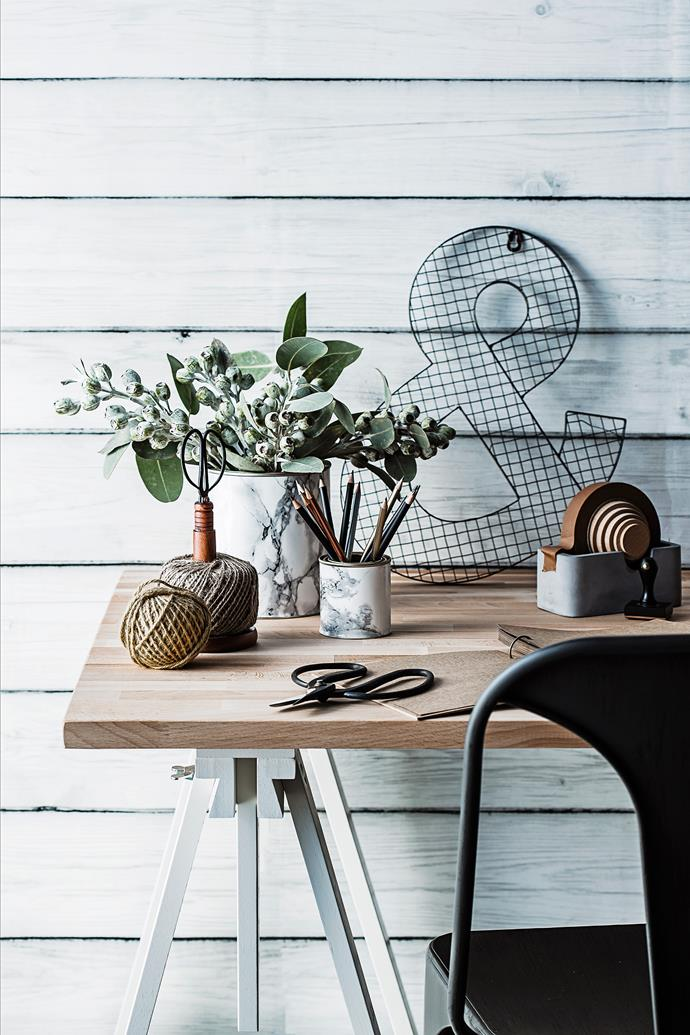 """Another office must-have are these [DIY marble-look storage tins](http://www.homestolove.com.au/how-to-make-a-marble-look-storage-tin-3382