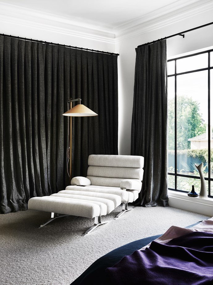 """Vintage 70s chaise and ottoman were re-covered in textured wool. """"They [the clients] didn't have a lot, but what they did have was exceptional,"""" says Kathryn."""