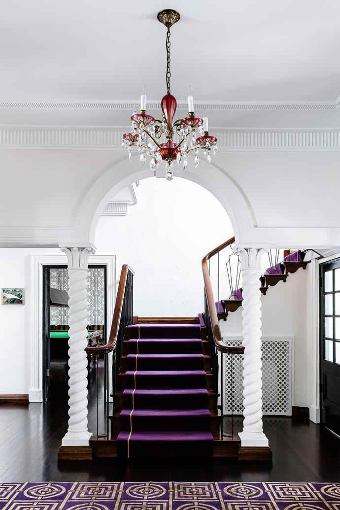 """To lead the eye up the timber staircase in the entry, [designer Brendan Wong](http://brendanwong.com/