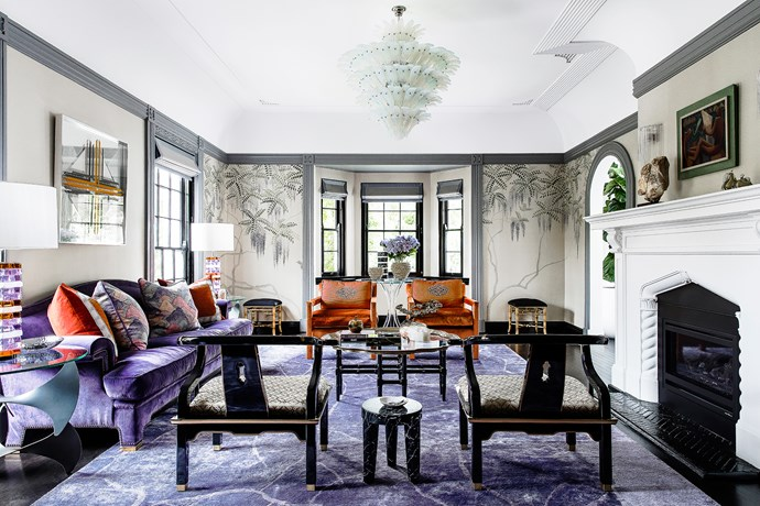 """The purple and orange theme was inspired by the wisteria,"""" says Brendan, who was encouraged by the owners to be bold with colour. """"The purple has a stateliness to it that befits the architecture – a grandeur as colour applied in a contemporary way."""""""