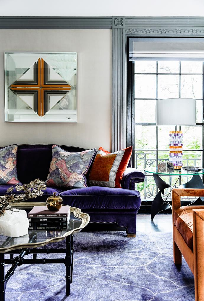 """""""During the day, the room sings with hues of purple and orange and, although the arrangement of the furniture is somewhat formal, there is a genuine sense of comfort in the room,"""" says Brendan."""