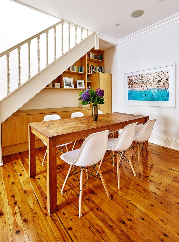 "The sturdy [dining](http://www.homestolove.com.au/watch-how-to-style-a-relaxed-dining-area-3675|target=""_blank"") table has been in Kirsty's family since she was a baby! Quick tip: nooks under stairs are ideal for open and enclosed storage."