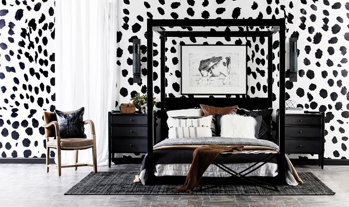 "Ramp up the personality in a room with oversize furniture and prints. **FROM LEFT** Timothy Oulton Cliveden timber carver **chair** with **leather upholstery**, $1535, [Coco Republic](https://cocorepublic.com.au/|target=""_blank""). Grace Garrett Marula Black & White **wallpaper**, $68/m, [Sparkk](https://www.sparkk.com.au/