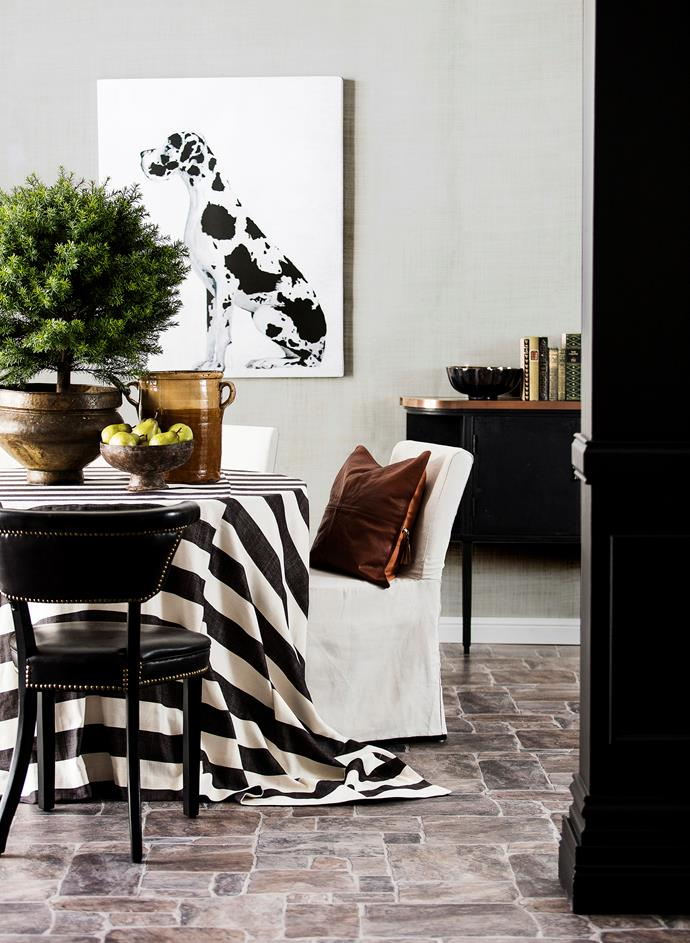 "Prints in black and white reinforce the style, while adding a modern touch. Gus the Great **canvas print** by Erica Smith, $595, [Penny Farthing Design House](https://www.pennyfarthingdh.com.au/|target=""_blank""). **ON TABLE from left** Faux Taxus ball **tree**, $420, [Florabelle](https://www.florabelle.com.au/