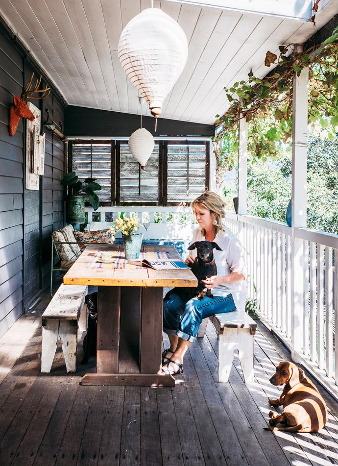 """We have a north-facing, covered verandah that we use all year round"" says Janice."