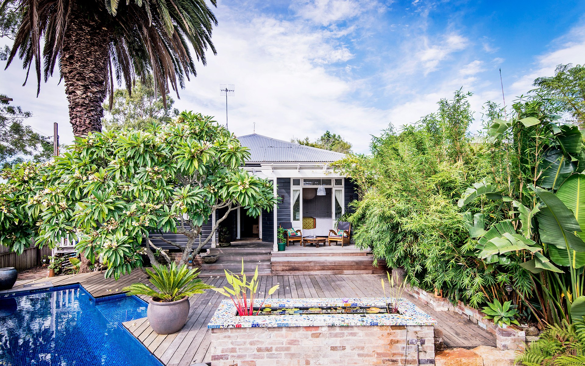 **Janice Whitington** This much-loved 99-year-old weatherboard in Brooklyn, NSW, is a treasure trove of eclectic delights. [See the full home here](http://www.homestolove.com.au/eclectic-style-shines-in-this-charming-weatherboard-cottage-3919) or [vote for this home](http://www.homestolove.com.au/homes-reader-home-of-the-year-4499).