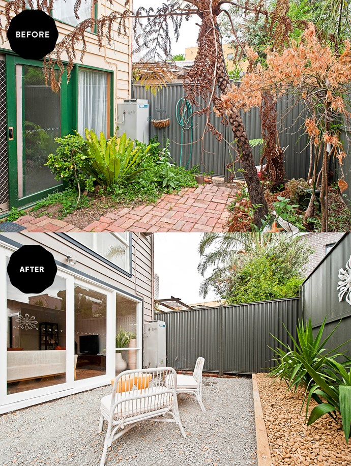 Simple pine sleepers and minimal plantings were all that was required to transform the small, congested yard into a smart and sophisticated garden.