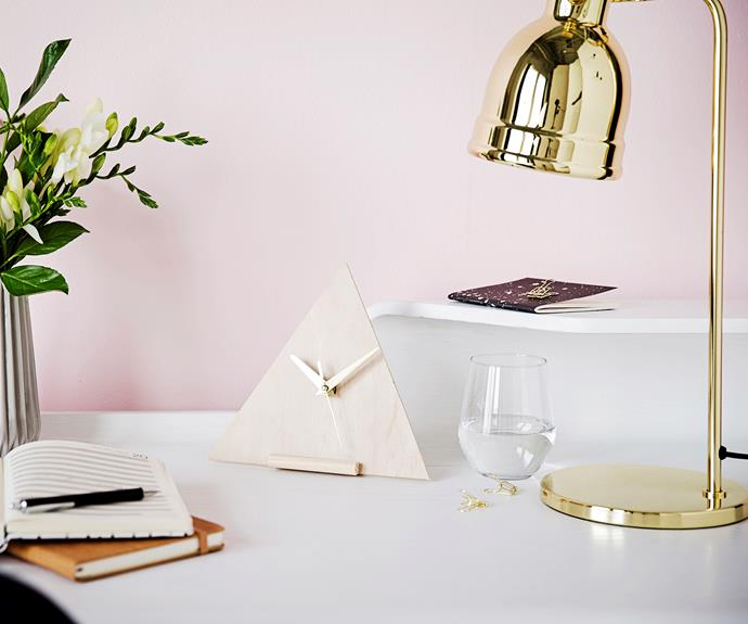 """It's faster to make your own clock than to find one that goes with your work space. This [DIY wooden clock](http://www.homestolove.com.au/weekend-project-diy-wooden-clock-3030