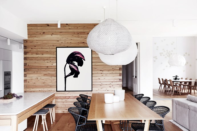 """In the family dining area Paris Au Mois d'Août pendant lights from [Hub](http://www.hubfurniture.com.au/