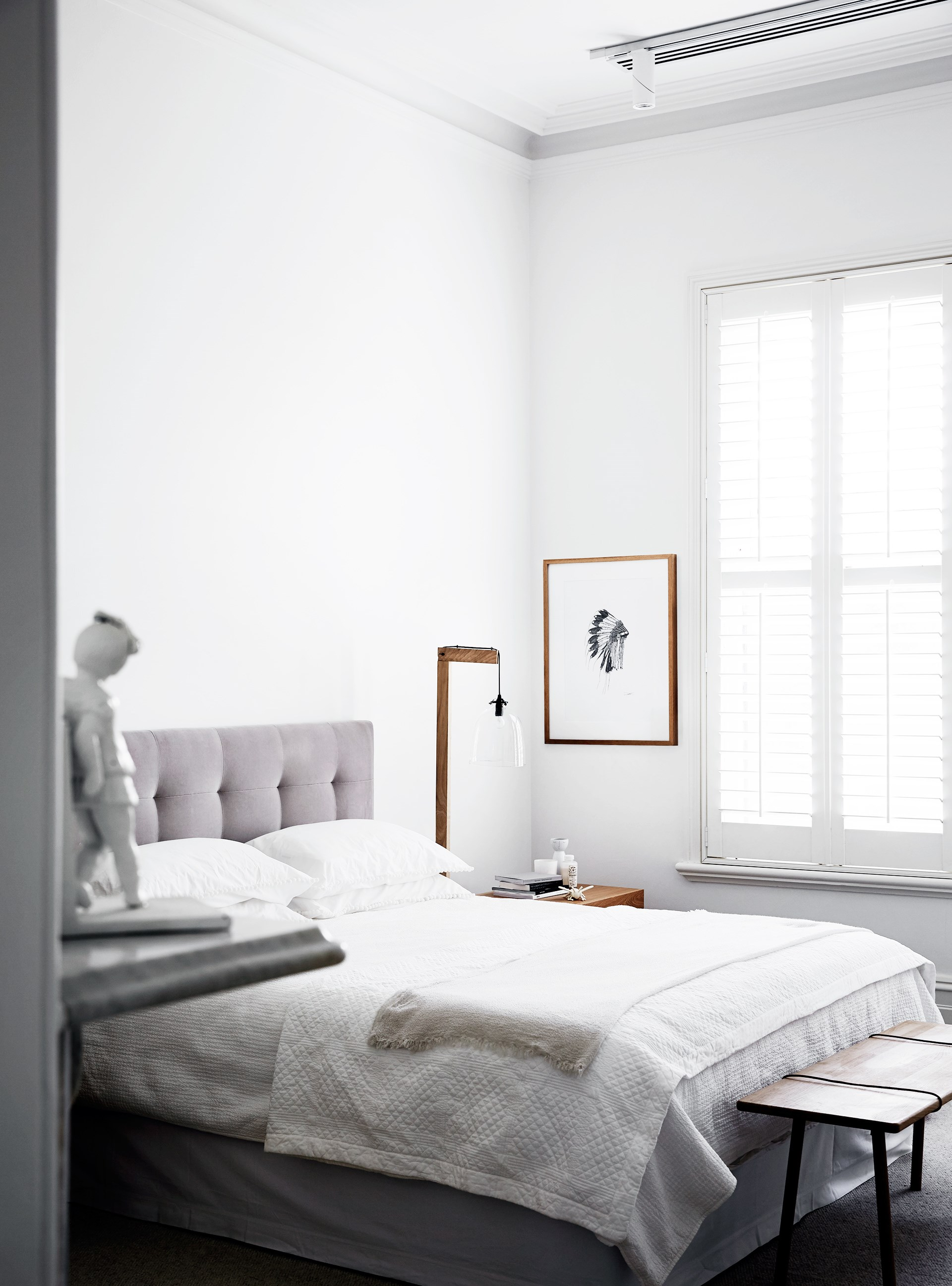"Whisper white is a fool-proof [simple bedroom decorating idea](https://www.homestolove.com.au/simple-bedroom-decorating-ideas-6947|target=""_blank""), as seen in the bedroom of this [light-hearted luxury home](http://www.homestolove.com.au/a-light-hearted-luxury-home-3944). Photo: Sharyn Cairns"
