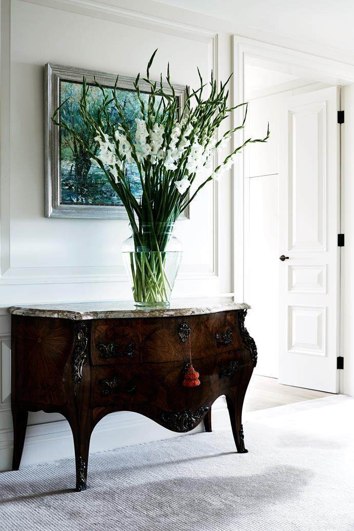 """An 18th-century French commode with marble top from [Graham Geddes Antiques](http://shop.grahamgeddesantiques.com.au/