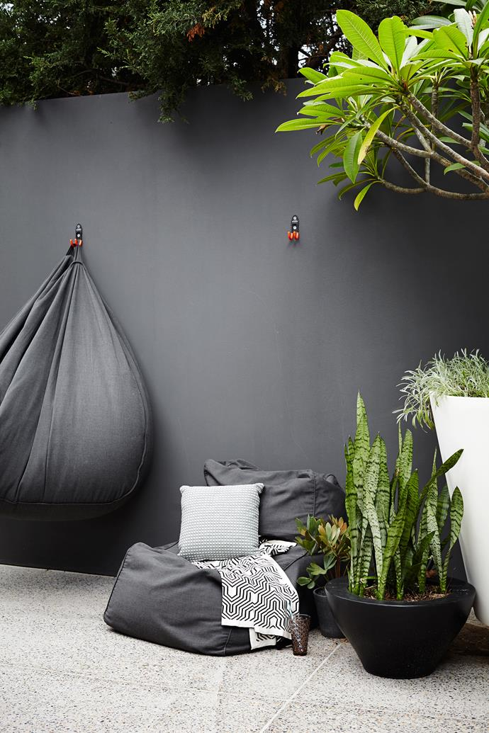 "Beanbags from [Eco Outdoor](https://www.ecooutdoor.com.au|target=""_blank"") are perfect for the kids to use and they can be hung on hooks on cleaning days."